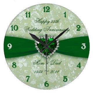 Aniversário de casamento do damasco 55th relógios para pendurar