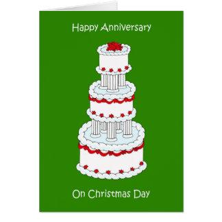 Aniversário de casamento do dia de Natal, o 25 de Cartão Comemorativo