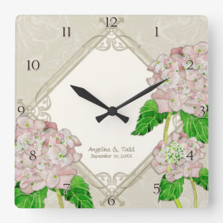 Aniversário de casamento do Hydrangea do rosa do Relógio Para Parede
