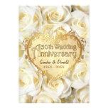 Aniversário de casamento do rosa branco 50th convites personalizado