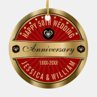 Aniversário de casamento dos corações 50th de ornamento de cerâmica redondo