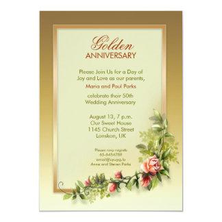 aniversário de casamento dourado chique - 50 convite 12.7 x 17.78cm