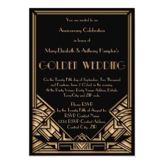 Aniversário de casamento dourado de Gatsby do art Convite 12.7 X 17.78cm