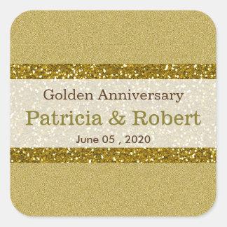 Aniversário de casamento dourado do brilho 50th do adesivo quadrado
