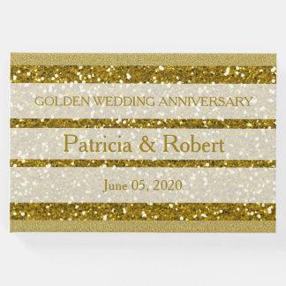 Aniversário de casamento dourado do brilho do ouro livro de visitas