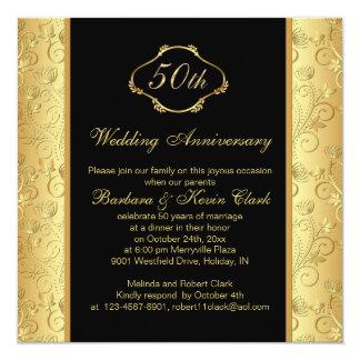 Aniversário de casamento dourado floral do preto convite quadrado 13.35 x 13.35cm