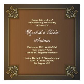 aniversário de casamento elegante convite quadrado 13.35 x 13.35cm