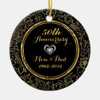 Aniversário de casamento elegante do preto & do ornamento de cerâmica redondo