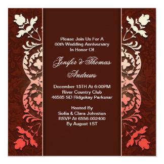 aniversário de casamento elegante sofisticado convite quadrado 13.35 x 13.35cm