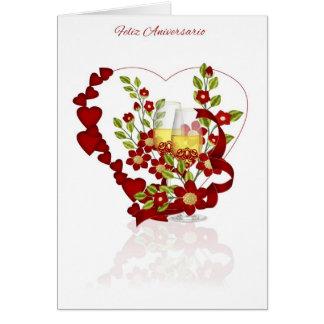 Aniversário de casamento espanhol com flores de cartão comemorativo
