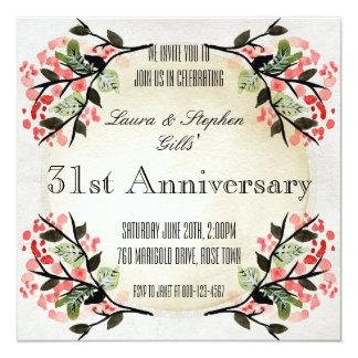 Aniversário de casamento floral do quadro do convite quadrado 13.35 x 13.35cm