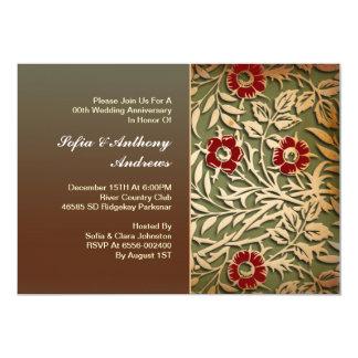 aniversário de casamento floral do vintage convite 12.7 x 17.78cm