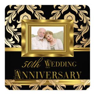 Aniversário de casamento preto 2 da foto 50th do convite quadrado 13.35 x 13.35cm