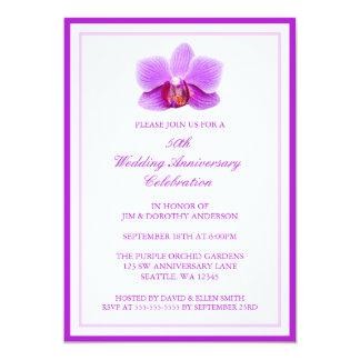 Aniversário de casamento roxo elegante da orquídea convite 12.7 x 17.78cm