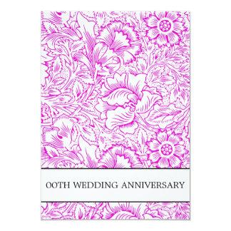 aniversário de casamento roxo floral convite 12.7 x 17.78cm