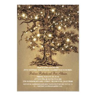 aniversário de casamento rústico do carvalho velho convite 12.7 x 17.78cm