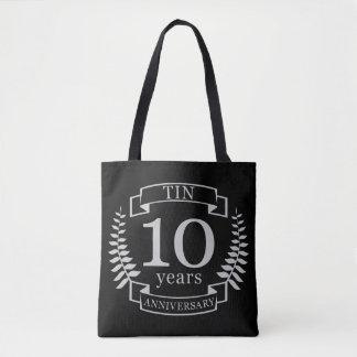 Aniversário de casamento tradicional do marfim 10 bolsa tote