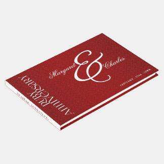 Aniversário de casamento vermelho do rubi para a livro de visitas