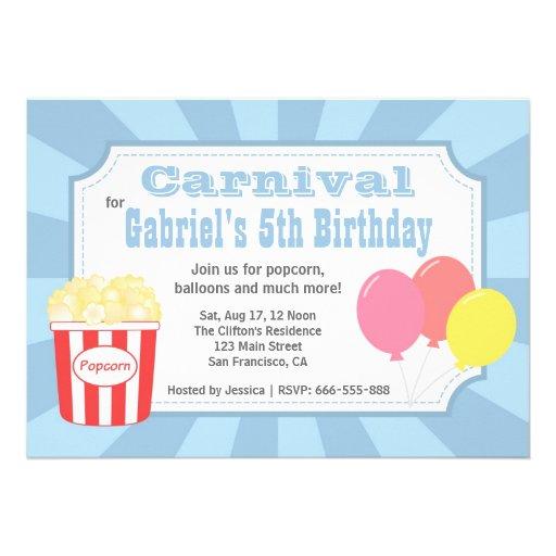 Aniversário de criança - carnaval com pipoca & bal convite personalizados