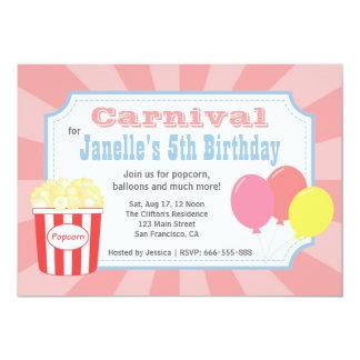 Aniversário de criança - carnaval com pipoca & convites personalizados
