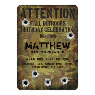 Aniversário de criança dos buracos de bala da convite 12.7 x 17.78cm
