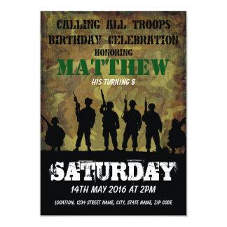 Aniversário de criança rústico dos soldados da convite 12.7 x 17.78cm