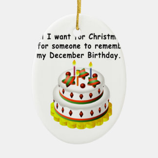 Aniversário de dezembro ornamento de cerâmica oval