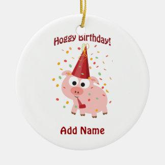 Aniversário de Hoggy! Ornamento De Cerâmica Redondo