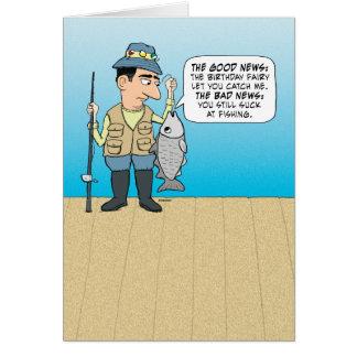 Aniversário de insulto engraçado dos peixes cartão comemorativo