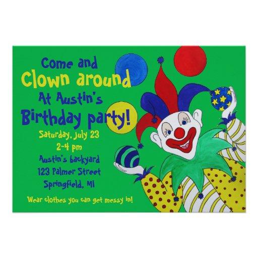 Aniversário de mnanipulação do palhaço convites