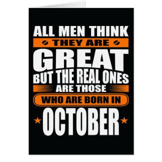 Aniversário de outubro (adicione seu texto) cartão comemorativo