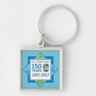 Aniversário de Redwood City 150th Chaveiro Quadrado Na Cor Prata