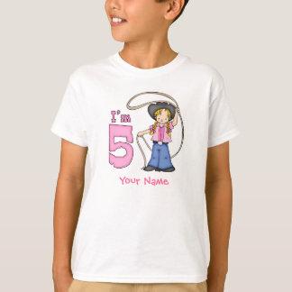 Aniversário de Roper da vaqueira 5o personalizado Camiseta
