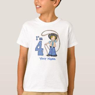 Aniversário de Roper do vaqueiro 4o personalizado Camiseta