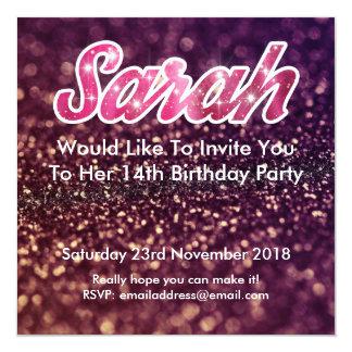 Aniversário de Sarah o 14o convida Convite Quadrado 13.35 X 13.35cm
