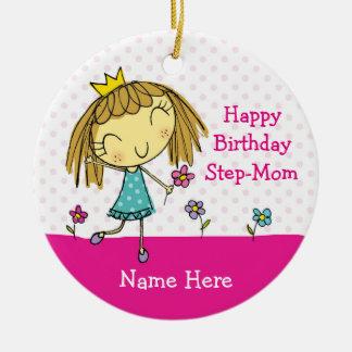 Aniversário de SUSPENSÃO da princesa da madrasta Ornamento De Cerâmica Redondo