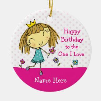 Aniversário de SUSPENSÃO da princesa do amor do ♥ Ornamento De Cerâmica Redondo