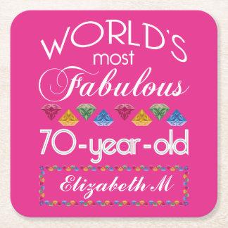 aniversário do 70 a maioria de rosa colorido porta-copo de papel quadrado