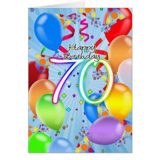 aniversário do 70 - cartão de aniversário do balão