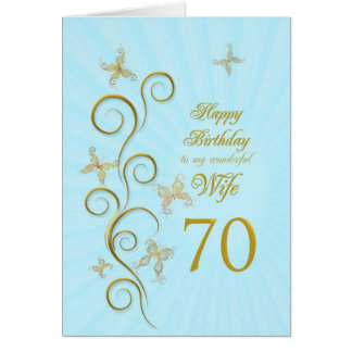 Aniversário do 70 da esposa com borboletas dourada cartão