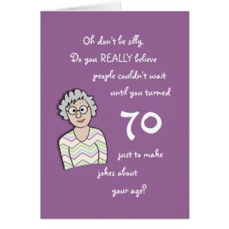 aniversário do 70 para o cartão Ela-Engraçado