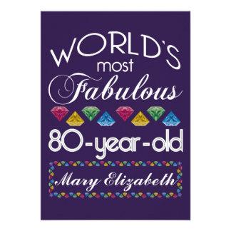 aniversário do 80 a maioria de gemas coloridas convites personalizados