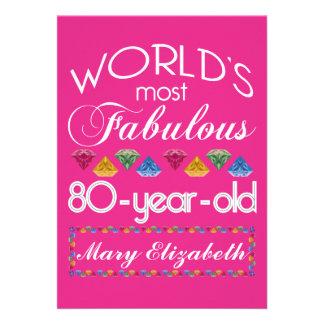 aniversário do 80 a maioria de rosa colorido convite