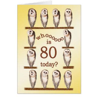 aniversário do 80, cartão curioso das corujas