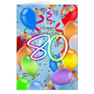 aniversário do 80 - cartão de aniversário do balão