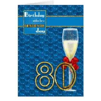 aniversário do 80 - cartão de aniversário geométri