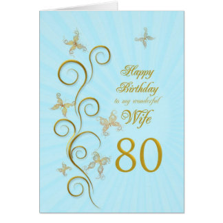 Aniversário do 80 da esposa com borboletas dourada cartao