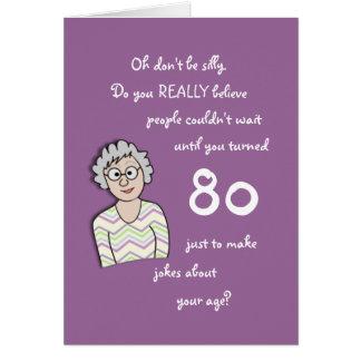 aniversário do 80 para o cartão Ela-Engraçado