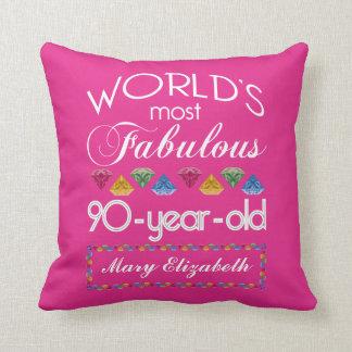 aniversário do 90 a maioria de rosa colorido almofada