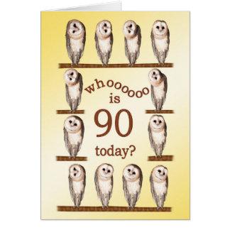 aniversário do 90, cartão curioso das corujas